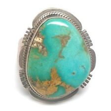 Old Pawn Navajo Handmade Turquoise Sterling Silver Ring 10  -M.P