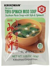 Kikkoman Instant Tofu-Spinach Miso Soup (Soybean Paste Soup), 1 Bag (3 Packets)