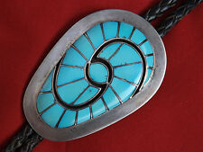 Vintage ZUNI bolo tie D&A QUANDELACY sterling silver & turquoise channel inlay