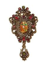Vintage Sarah Coventry Contessa Brooch faux pink fire opal & rhinestones