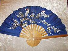 Large Blue Satin Hand Painted Stork Ladies Hand Held/Wall Hanging Fan