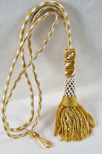 """NEW 32"""" Bishop Tassel Pectoral Cord GOLD/WHITE, Clergy Vestment"""