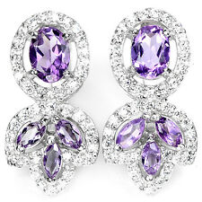 Natural PURPLE AMETHYST & WHITE CUBIC ZIRCONIA .925 STERLING SILVER EARRINGS