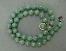 Beautiful Chinese Vintage 14k Gold & Green Jade Bead Necklace 18""