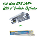 "600W HPS HIGH PRESSURE SODIUM LAMP & 6"" COOLTUBE REFLECTOR HYDROPONIC GROW TENT"