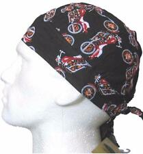 Fitted Bandana,Durag Red Motorbike Cap Hat Biker Motorcycle Black Bike Bandanna