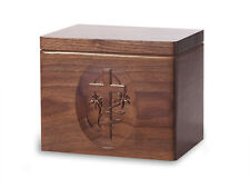 Wood Cremation Urn. Standard model with Black Walnut and a Cross Image