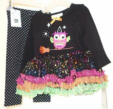 Brand New ~  Bonnie Baby Owl On A Broomstick Halloween Outfit Girl's Size 12M