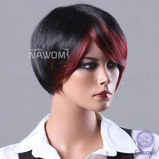 Women&Girl Office Lady Fashion BOBO Short Straight Red Black Highlights Hair Wig
