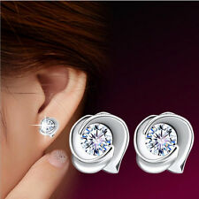 Unique Classic 18k white gold filled white Swarovski crystal stud earring