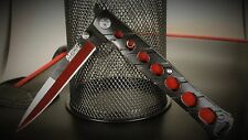 2 KNIVES BIG RED MTECH RED AND BLACK STILLETO MILANO SPRING ASSIST POCKET KNIFE