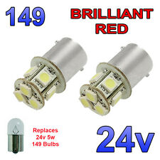2 x Red 24v LED BA15s 149 R5W 8 SMD Number Plate Interior Bulbs HGV Truck
