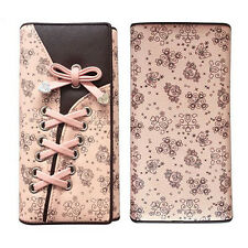 Women Trifold Lace-up Shoelace Design Purse Locking Buckle Design Wallet Bag