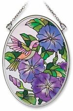 "Amia Stained Glass Suncatcher Small Oval Morning Glories 7982 4.25"" x 3.25"""