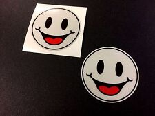 REFLECTIVE HAPPY SMILEY Car Motorcycle Helmet Stickers Decals 2 off 50mm