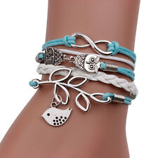 Light/Baby Blue & White Cord Bracelet - Owl Infinity Bird Charms Surf Jewellery