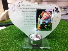 Her Smile Memorial Plaque Glass Ornament Photo Frame with Poem Grave Stone