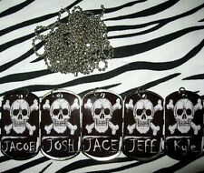 Skull and Crossbones personalized metal dog tag necklace