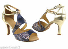 Gold Leather Ballroom Salsa Latin Dance Shoes heel 2.5 Size 7 Very fine 7004