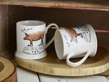 Set of 2 FARMERS MARKET PIG Stoneware Footed TANKARD MUGS