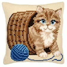 "Kitten with a Ball of Wool Cream Beige Cushion Cover 16"" x 16"" Cross Stitch Kit"