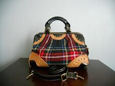 MSRP $425 VINTAGE BETSEY JOHNSON PLAID BLACK/TAN LEATHER SATCHEL BAG PURSE+STRAP