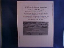 1967 AMC Rambler American factory cost/dealer sticker prices for car/options $$