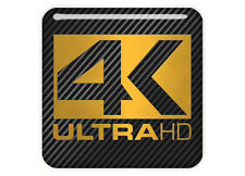 "4K ULTRA HD 1""x1"" Chrome Domed Case Badge / Sticker Logo"