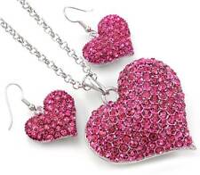 Valentine's Day Gift Pink Heart Pendant Necklace & Dangle Earrings Set Charm p3