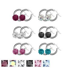 New Stainless Steel Shamballa Crystal Paved Hoop Ring Earrings Choose Colour