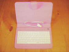 "Pink leather case with stand. 7 "" case.. with USB plug in white keyboard ! used."