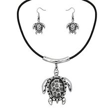 """Textured Sea Turtle Fashionable Necklace & Earring Set - Fish Hook - 17"""" Cord"""