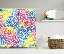 Colors of the Rainbow Painted on a Floral Petal Shower Curtain Extra Long 84Inch