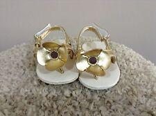 Gymboree newborn baby girl adorable gold flower sandals