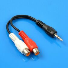 3.5mm Aux Male Plug to 2 RCA Female Jack Stereo Audio Converter Adapter Cable