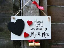 Engagement and Wedding countdown plaque-Personalised Mr & Mrs- Save the date