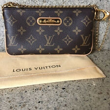 Authentic LOUIS VUITTON Monogram Milla Pochette w/ Gold Chain Strap