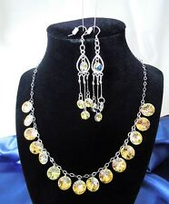 Handmade SWAROVSKI CRYSTAL DISC JEWELERY SET