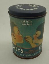 """VINTAGE (1980) HERSHEY'S KISSES (A KISS FOR YOU) MILK CHOCOLATE TIN CAN~ 6"""" Tall"""