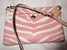 NWT $158 COACH PEYTON SIGNATURE PINK ZEBRA PRINT CROSSBODY SHOULDER BAG F52531