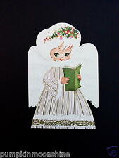 Unused Die Cut Xmas Greeting Card Sweet Angel with Green Eyes Golden Accents