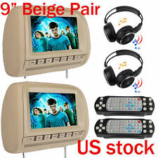 "Pair 9"" HD LCD Car Pillow Headrest Monitor DVD Player Beige Wireless Headph"
