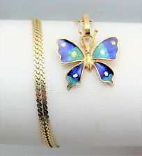 Vintage Solid 14K Yellow Gold Enamel Butterfly Pendant Serpentine Chain Necklace