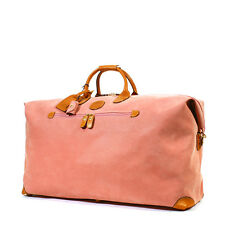 BRIC'S BRICS LIFE MEDIUM PINK LEATHER TRIM DUFFLE LUGGAGE WEEKENDER HOLDALL BAG