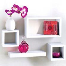 Moderne lot de 4 flottant mural stockage vitrine cubes étagères-blanc
