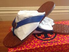 Tory Burch Thora Tumbled Leather Thong Sandals Jelly Blue Leather Sz 10 NIB