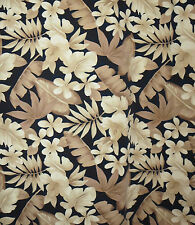 XXL Hawaiian Shirt Black Tan Leaves 2XL 100% Cotton Campia Korea Floral Men's