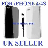 NEW BLACK OR WHITE iPHONE 4 4G 4S BACK COVER GLASS PLATE HOUSING REPLACEMENT