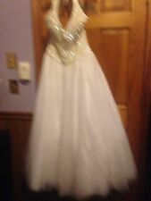 New BeautifuL Tiffany Designs White Prom Wedding Dress with crystal beading Sz 8
