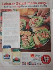 1957 A&P Grocery Store Supermarket Lobster Salad Dressing Mayonnaise Ann Page Ad